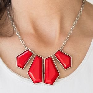 Paparazzi Get Up and GEO Red Necklace Set
